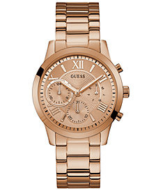 GUESS Women's Rose Gold-Tone Stainless Steel Bracelet Watch 40mm
