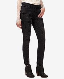 Lucky Brand Ava Skinny Flocked-Detail Jeans