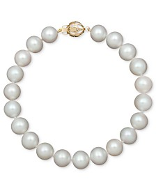 Belle de Mer AA+ Cultured Freshwater Pearl Strand Bracelet (7-1/2-8-1/2mm) in 14k Gold