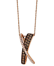 Le Vian Diamond Chocolate Diamond and White Diamond X Pendant (5/8 ct. t.w.) in 14k Rose Gold