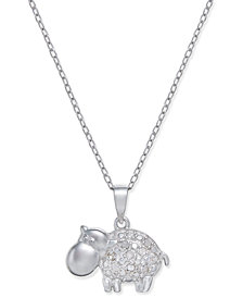 Diamond Hippo Pendant Necklace (1/10 ct. t.w.) in Sterling Silver