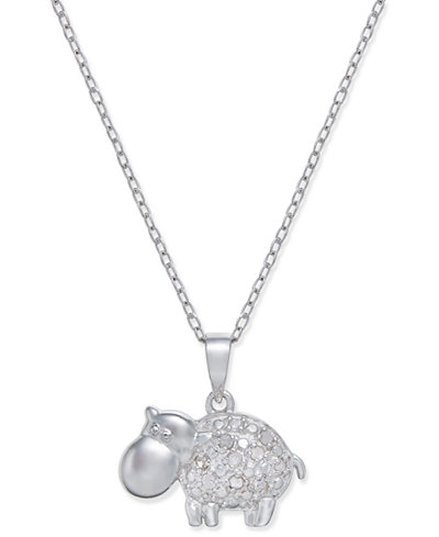 Diamond Hippo Pendant Necklace (1/10 ct. t.w.) in Sterling Silver