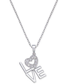 Diamond Love Pendant Necklace (1/10 ct. t.w.) in Sterling Silver