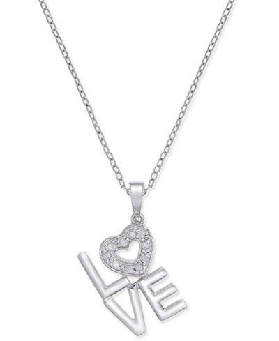 Diamond Love Pendant Necklace (1/10 ct. t.w.) in Sterling Silver