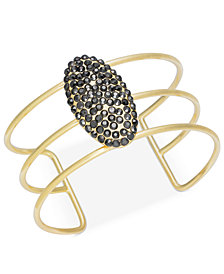 I.N.C. Gold-Tone Glittery Pavé Cuff Bracelet, Created for Macy's