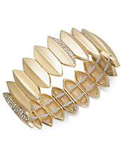 I.N.C. Gold-Tone Pavé Leaf Stretch Bracelet, Created for Macy's