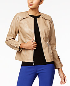 Alfani Ruffled-Trim Faux-Leather Jacket, Created for Macy's
