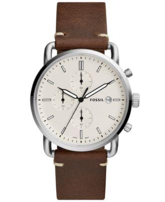 Men's Commuter Dark Brown Leather Strap Watch 42mm FS5275