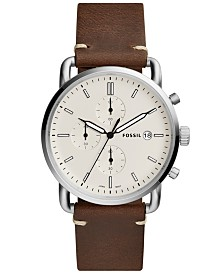 Fossil Commuter Collection Chronograph Leather Strap Watches
