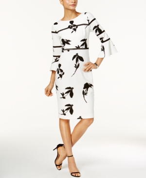 Taylor Dresses PRINTED BELL-SLEEVE DRESS