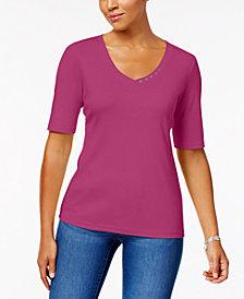 Karen Scott Petite Cotton Button-Detail T-Shirt, Created for Macy's