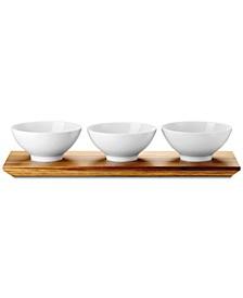 Loft Three Bowl Set with Acacia Wood Platter