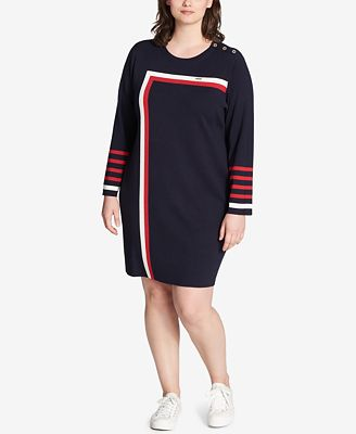 Tommy Hilfiger Plus Size Striped Sweater Dress Created For Macys