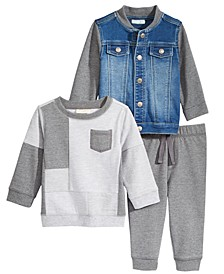 Denim Bomber Jacket, Pieced Sweatshirt & Jogger Pants, Baby Boys, Created for Macy's