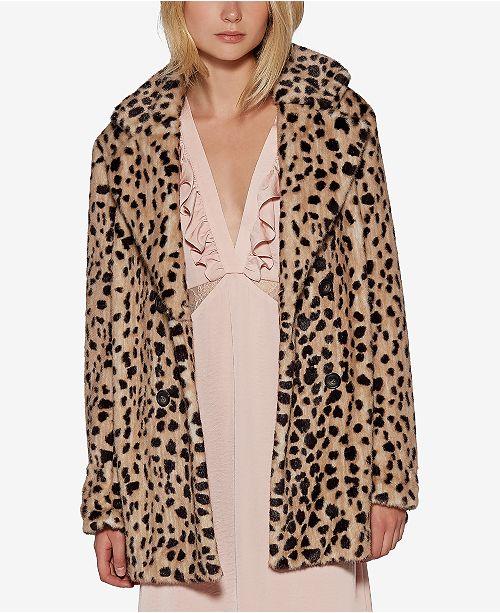 2228e3674dad Avec Les Filles Leopard-Print Faux-Fur Car Coat & Reviews - Macy's