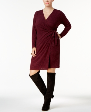 Ny Collection Plus Size Ribbed Sweater Wrap Dress