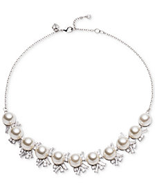 Carolee Silver-Tone Cubic Zirconia & Imitation Pearl Collar Necklace