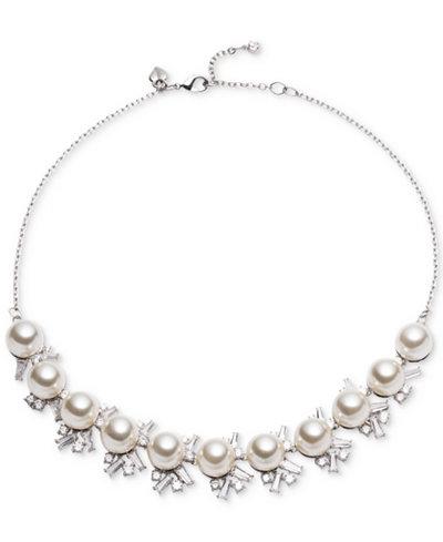 Carolee Silver-Tone Cubic Zirconia & Imitation Pearl Collar Necklace