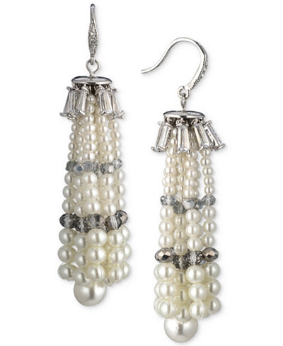 Carolee Silver-Tone Crystal & Imitation Pearl Tassel Drop Earrings