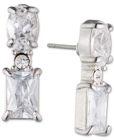Carolee Silver-Tone Crystal Linear Drop Jacket Earrings