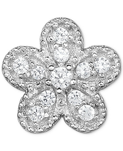 Diamond Accent Flower Single Stud Earring in 14k White Gold