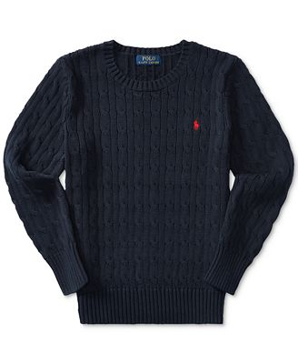 Ralph Lauren Cable-Knit Cotton Sweater, Big Boys (8-20) - Sweaters ...