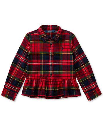 Polo Ralph Lauren Peplum-Hem Tartan Cotton Shirt, Little Girls (4-6X) -  Shirts & Tees - Kids & Baby - Macy's