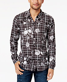 GUESS Men's Mosh Floral-Print Plaid Shirt