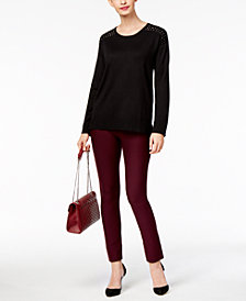NY Collection Studded Sweater & ECI Straight-Leg Pants