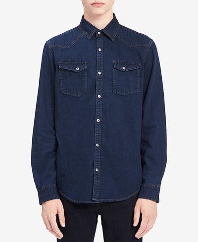 Calvin Klein Jeans Men's Cross Hatch Denim Western Shirt