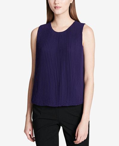Calvin Klein Sleeveless Pleated Blouse, Regular & Petite