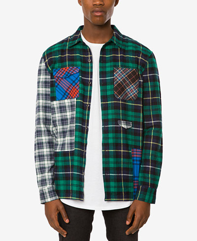 Jaywalker Men's Pieced Patchwork Plaid Flannel Shirt - Casual ...