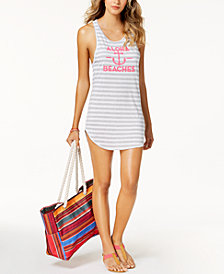 Miken Juniors'  Striped Aloha Beaches Graphic Tank Dress Cover-Up, Created for Macy's