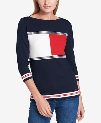 Tommy Hilfiger Logo-Print Sweater, Created for Macy's - Sweaters ...