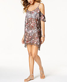 Miken Juniors'  Printed Cold-Shoulder Dress Cover-Up, Created for Macy's