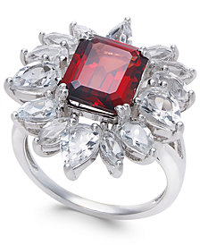 Rhodolite Garnet (3-1/2 ct. t.w.) & White Topaz (3-5/8 ct. t.w.) Ring in Sterling Silver