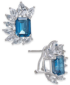 London Blue Topaz (6 ct. t.w.) & White Topaz (4-1/2 ct. t.w.) Drop Earrings in Sterling Silver