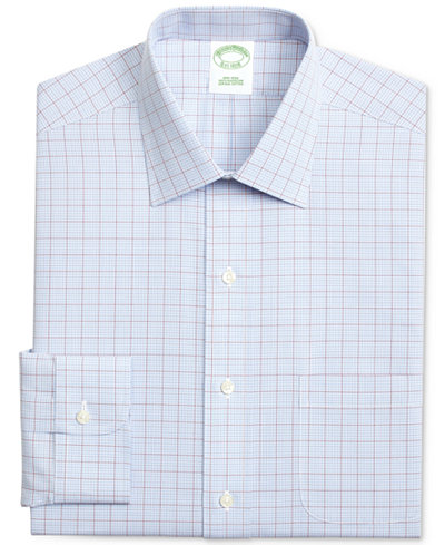 Brooks Brothers Men's Fitted Non-Iron Broadcloth Check Dress Shirt