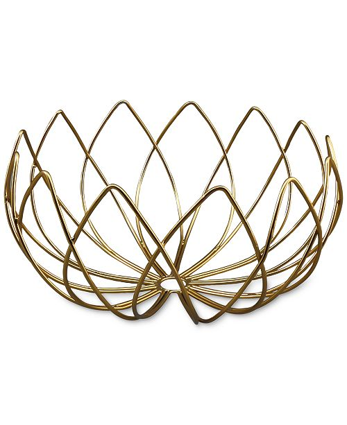 Thirstystone Gold-Finish Lotus-Shaped Wire Bowl - Serveware - Dining ...