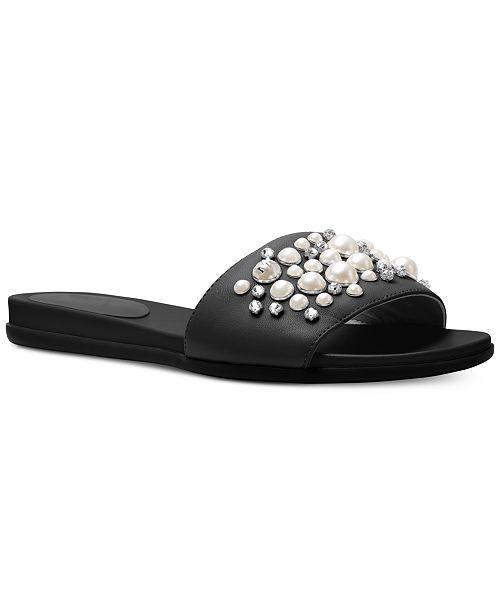 c34aeec1b Michael Kors Gia Pearl-Studded Flat Slide Sandals   Reviews ...