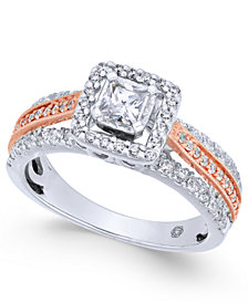 Diamond Princess Cut Two-Tone Engagement Ring (1 ct. t.w.) in 14k White & Rose Gold