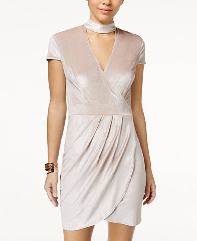 B Darlin Juniors' Velvet Faux-Wrap Choker Dress