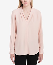 Calvin Klein Pleated Roll-Tab Top