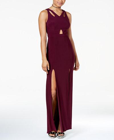 Blondie Nites Juniors' Strap-Back Cutout Gown