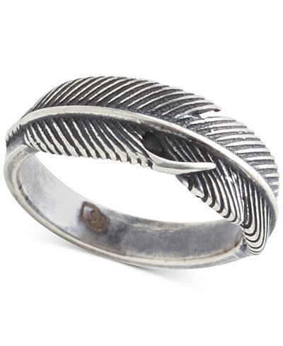 DEGS & SAL Men's Feather Ring in Sterling Silver
