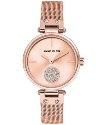 Anne Klein Womens Rose GoldTone Stainless Steel Mesh Bracelet