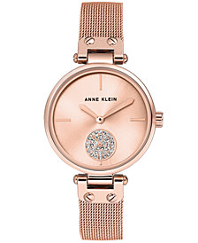 Anne Klein Women's Rose Gold-Tone Stainless Steel Mesh Bracelet Watch 34mm