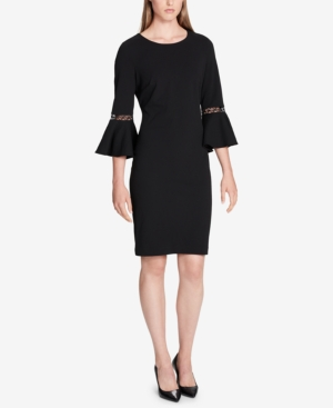 Calvin Klein  LATTICE-TRIM BELL-SLEEVE DRESS