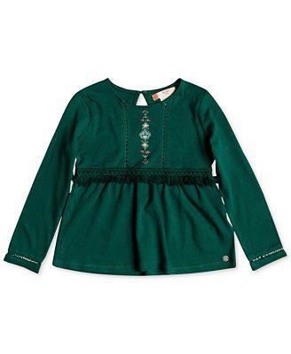 Roxy Fringe-Trim Cotton Tunic, Little Girls