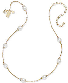 kate spade new york Gold-Tone Pavé & Imitation Pearl Station Necklace